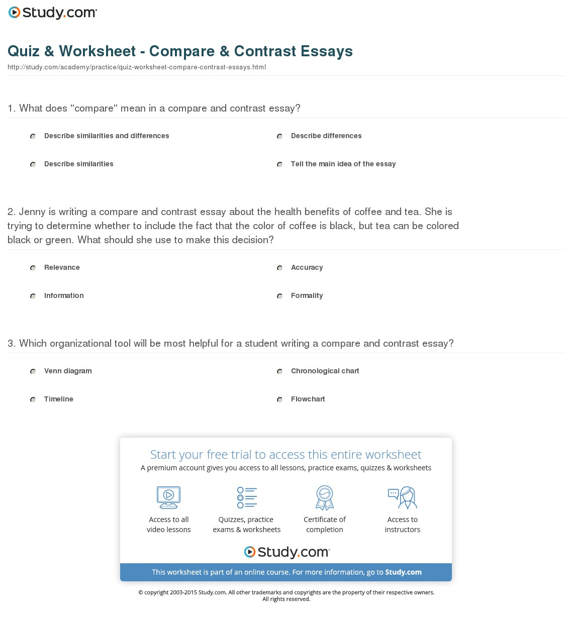 016 Quiz Worksheet Compare Contrast Essays Essay Example Comparing And Unique Contrasting Comparison Sample Pdf Structure University Topics On Health Full