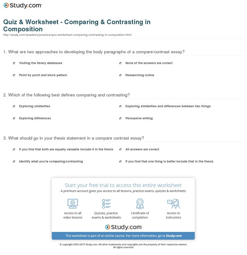 016 Quiz Worksheet Comparinging In Composition Essay Example Comparison And Awful Contrast Rubric Compare Template Word Large