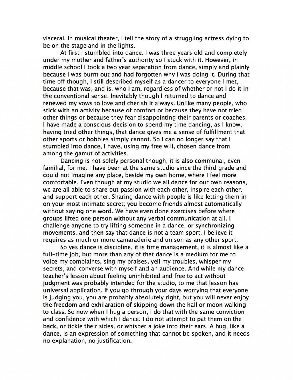 016 Rebecca Nueman Dance Essay Rough1 Frightening Jazz Topics Scholarships Conclusion Large
