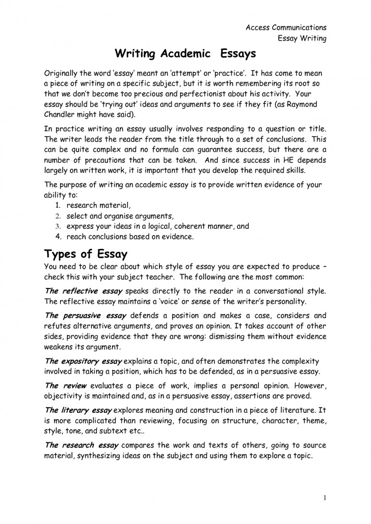 016 Reflective Essay On Academic Writings Beautiful Examples English Pdf For Middle School Writing Class 728