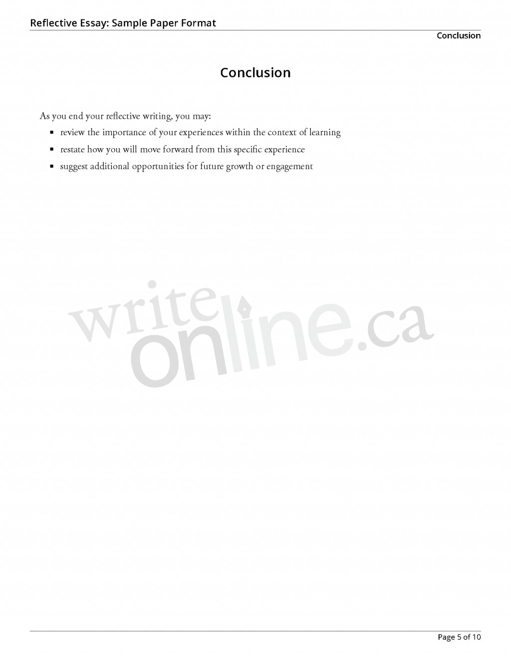 016 Reflectiveessay Sample Page 5 Essay Example How To Write Awesome A Reflection Reflective Introduction On An Article Course Large