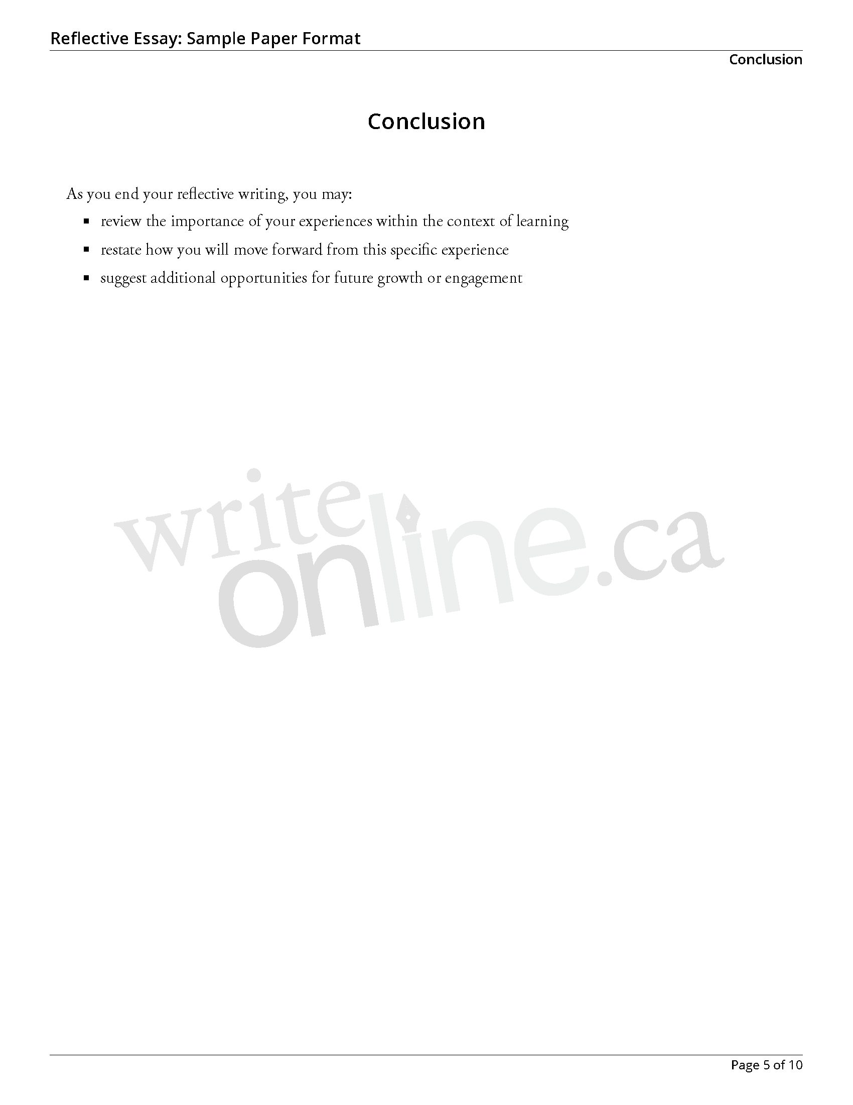 016 Reflectiveessay Sample Page 5 Essay Example How To Write Awesome A Reflection Reflective Introduction On An Article Course Full