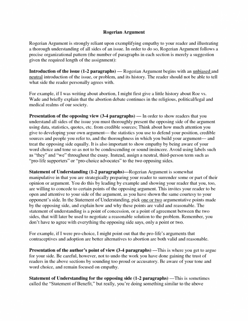 016 Rogerian Argument Essay Example Essays Examples Co How To Write An Argumentative About Abortion On Sles Of Staggering Topics