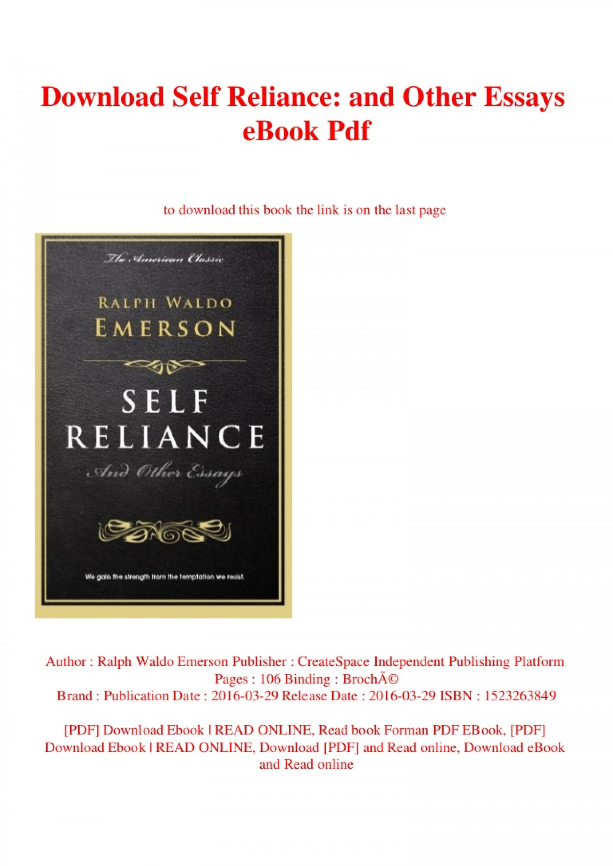 016 Self Reliance And Other Essays Downloadselfrelianceandotheressaysebookpdf Thumbnail Essay Formidable Ekşi Self-reliance (dover Thrift Editions) Pdf Epub 1920