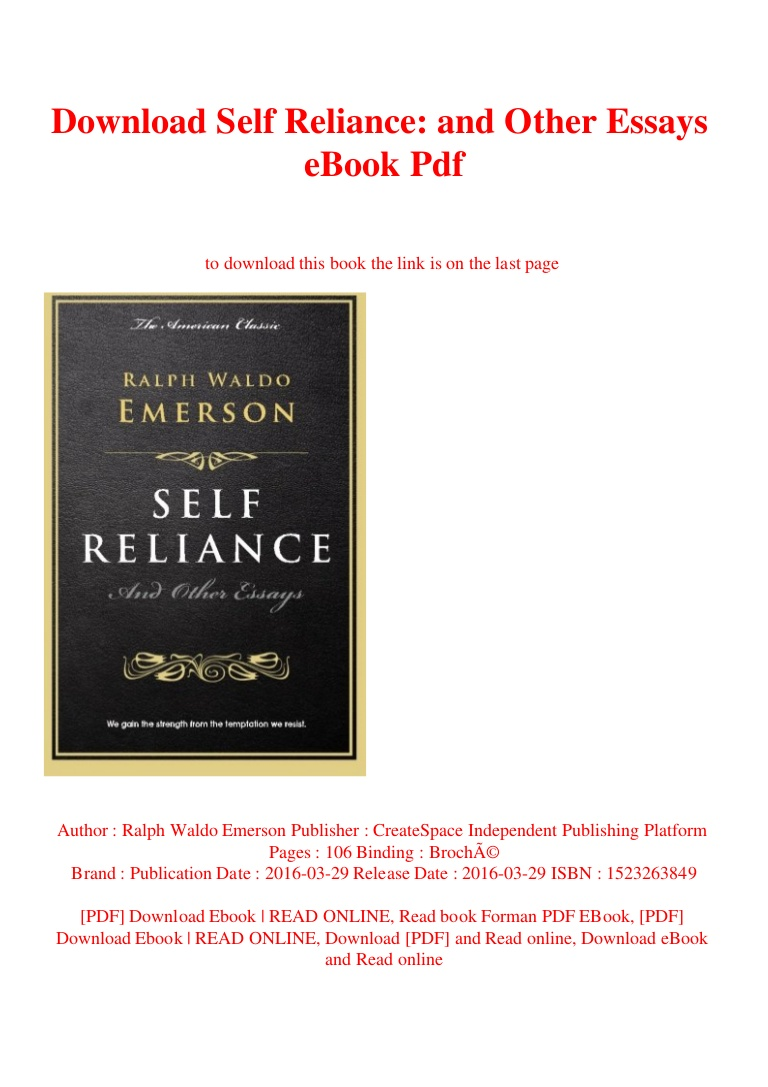 016 Self Reliance And Other Essays Downloadselfrelianceandotheressaysebookpdf Thumbnail Essay Formidable Ekşi Self-reliance (dover Thrift Editions) Pdf Epub Full