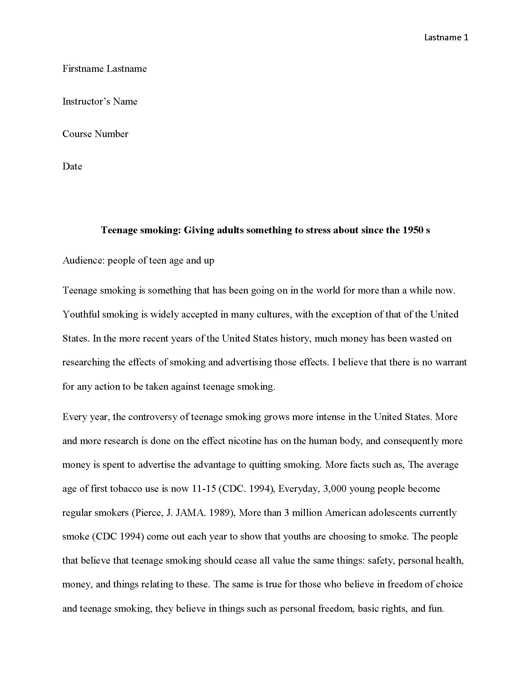 016 Teen Smoking Free Sample Page 1 Narrative Interview Essay Impressive Example Examples Full