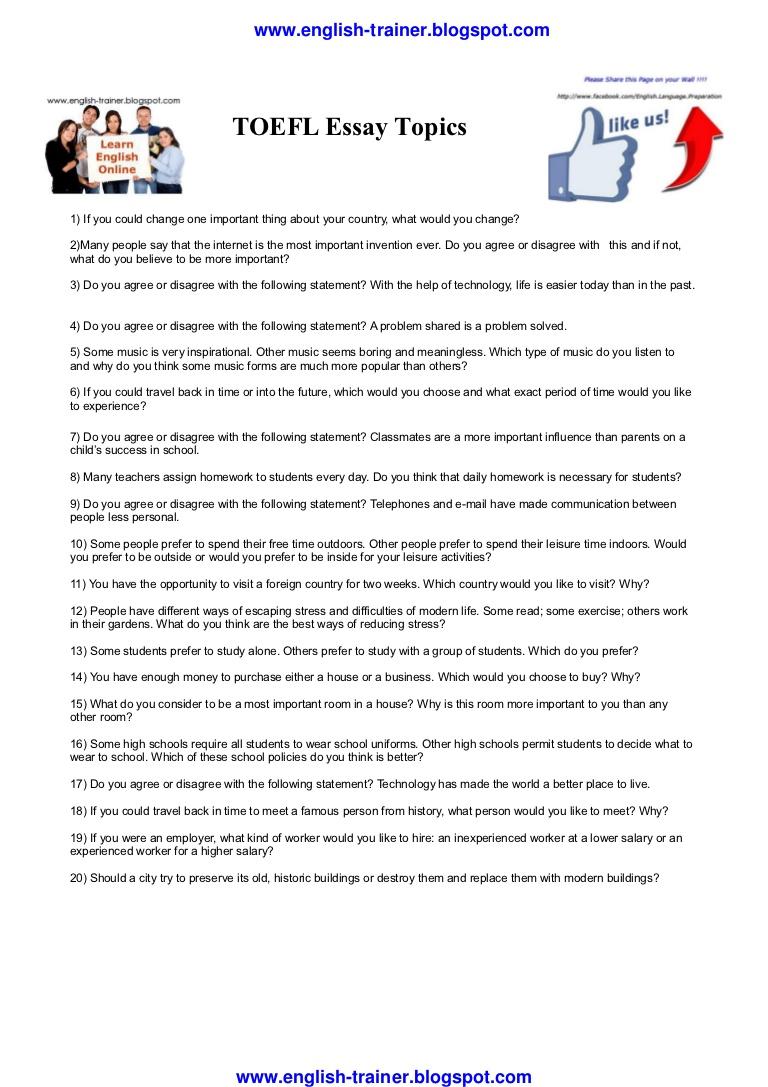 016 Toeflessaytopics Phpapp02 Thumbnail Essay Toefl Topics Dreaded 2017 185 Pdf Ets Full