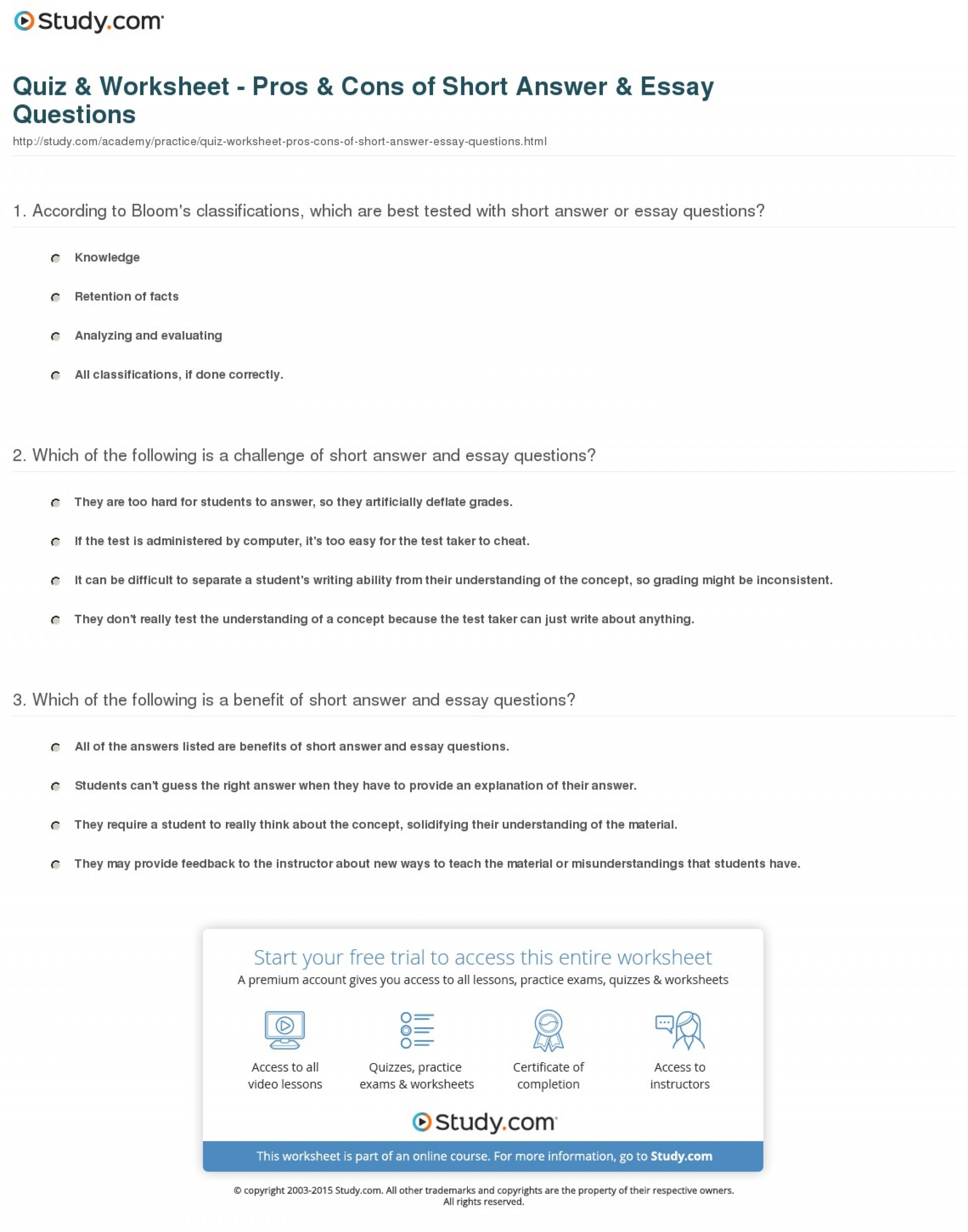 016 Writing Pros And Cons Essay Example Quiz Worksheet Of Short Answer Fascinating Explain How To Write An About The A Job 1920