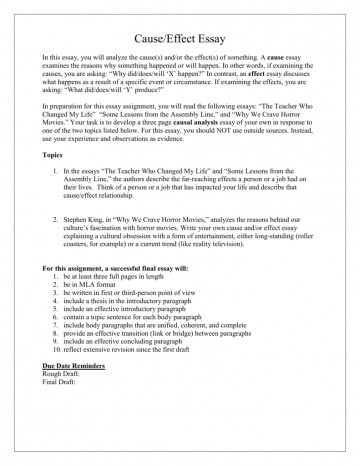 What Is Cause And Effect Essay  Thatsnotus     What Is Cause And Effect Essay Archaicawful A Good  Writing Lesson Plans Does