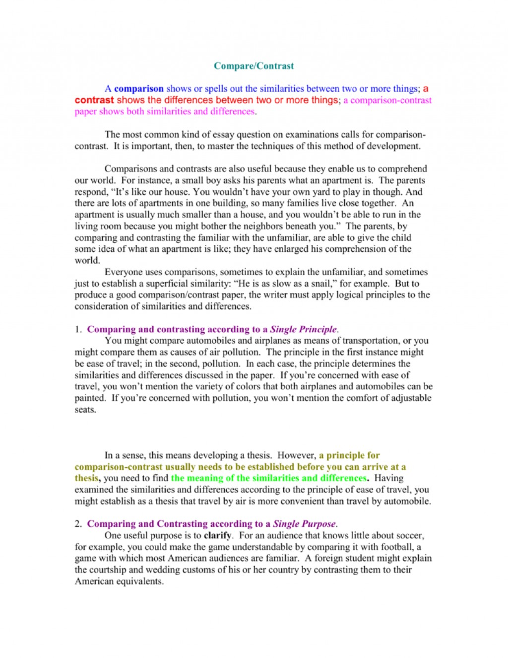 017 007777977 2 Compare And Contrast Essay Striking Example Examples For College Students Topics 7th Grade Large