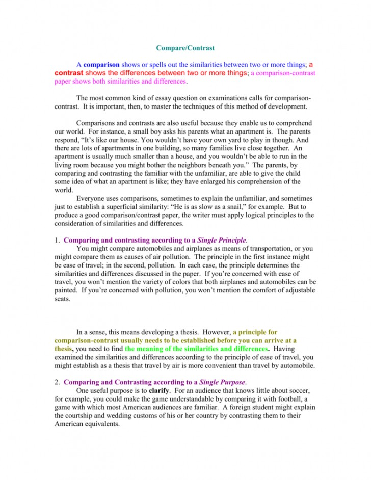 017 007777977 2 Compare And Contrast Essay Striking Example Examples For College Students Topics 7th Grade 728