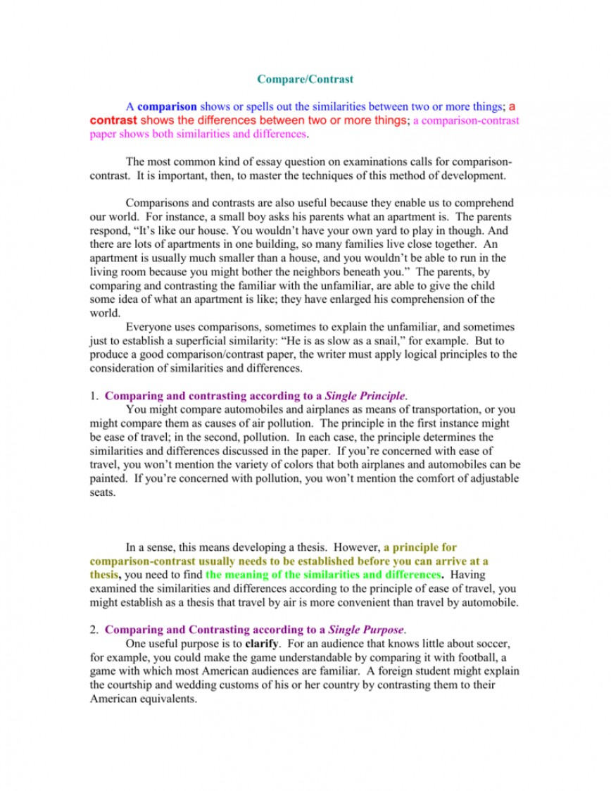 017 007777977 2 Compare And Contrast Essay Striking Example Examples For College Students Topics 7th Grade 868