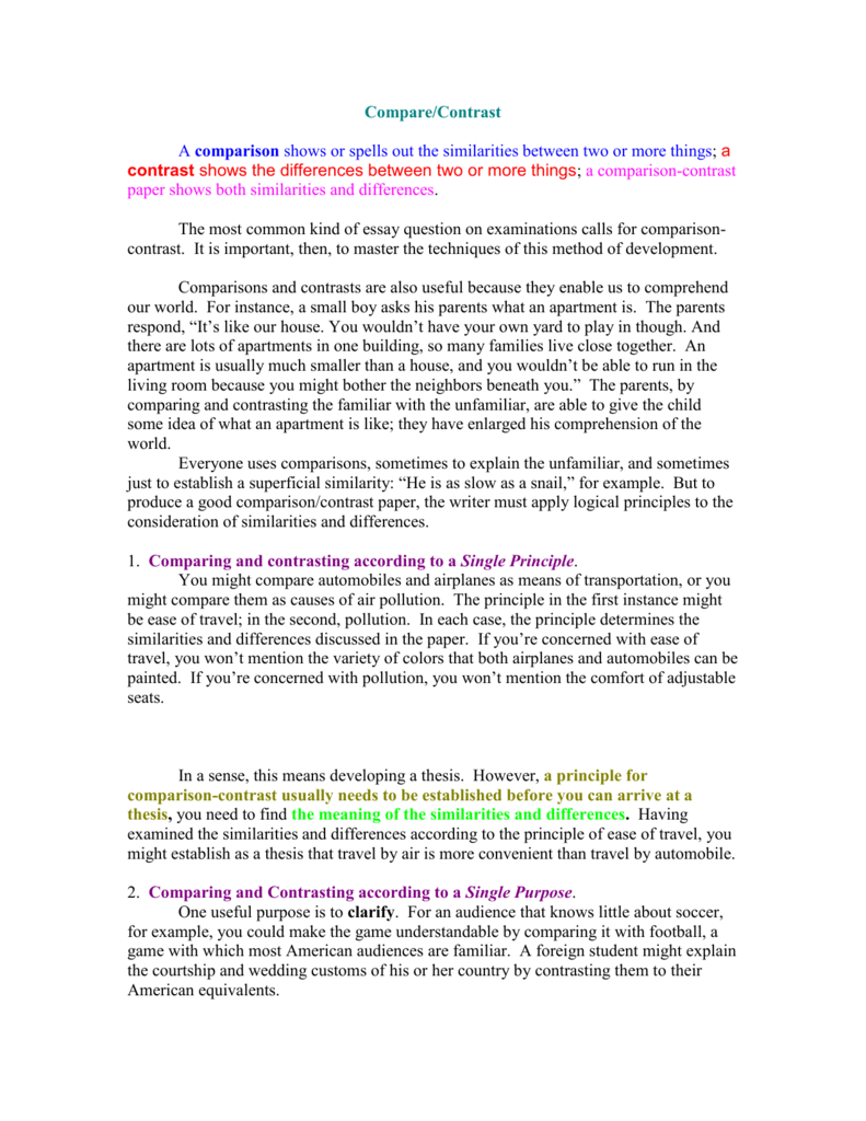 017 007777977 2 Compare And Contrast Essay Striking Example Examples College Level Topics 9th Grade For Students Full