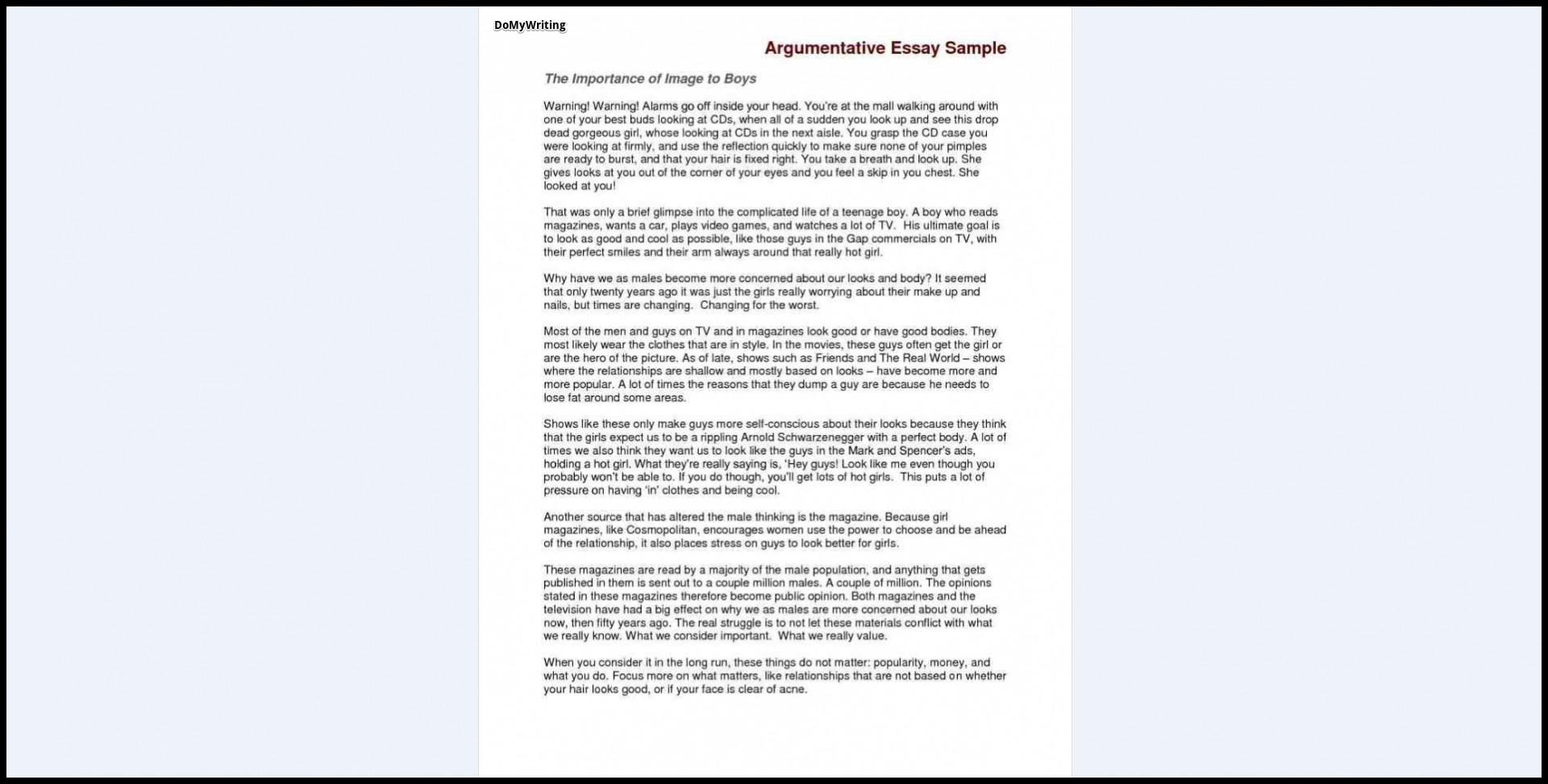 017 Argumentative Essay Sample Samples Excellent Good For Toefl Ielts Pdf 1920