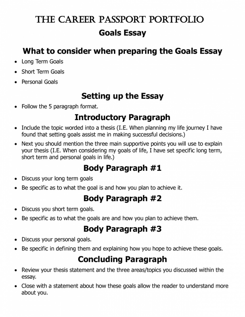 017 Essay About Goals Example Short And Long Term Pevita L Awesome In High School After Career Life Large