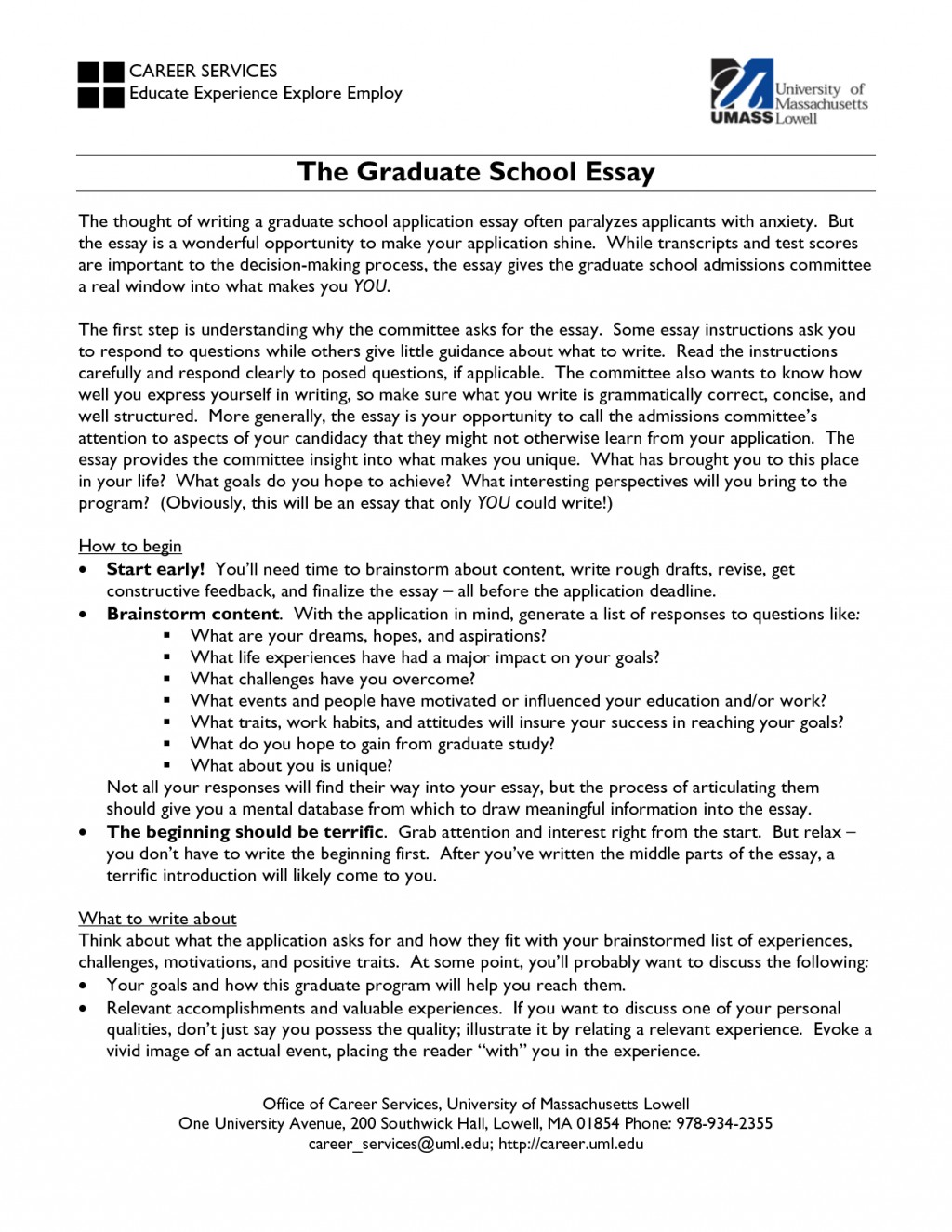 How to write an essay for masters application