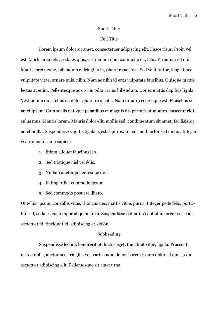 017 Essay Example Apa Sample Page 2 Format Stupendous Template Short Title 6th Edition 868
