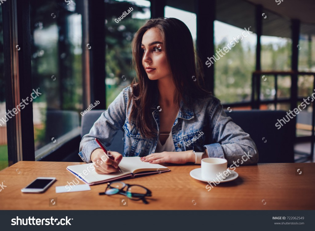 017 Essay Example Looking Out The Window Stock Photo Thoughtful Skilled Author Of And Thinking On Writing Interesting For Stunning My Large