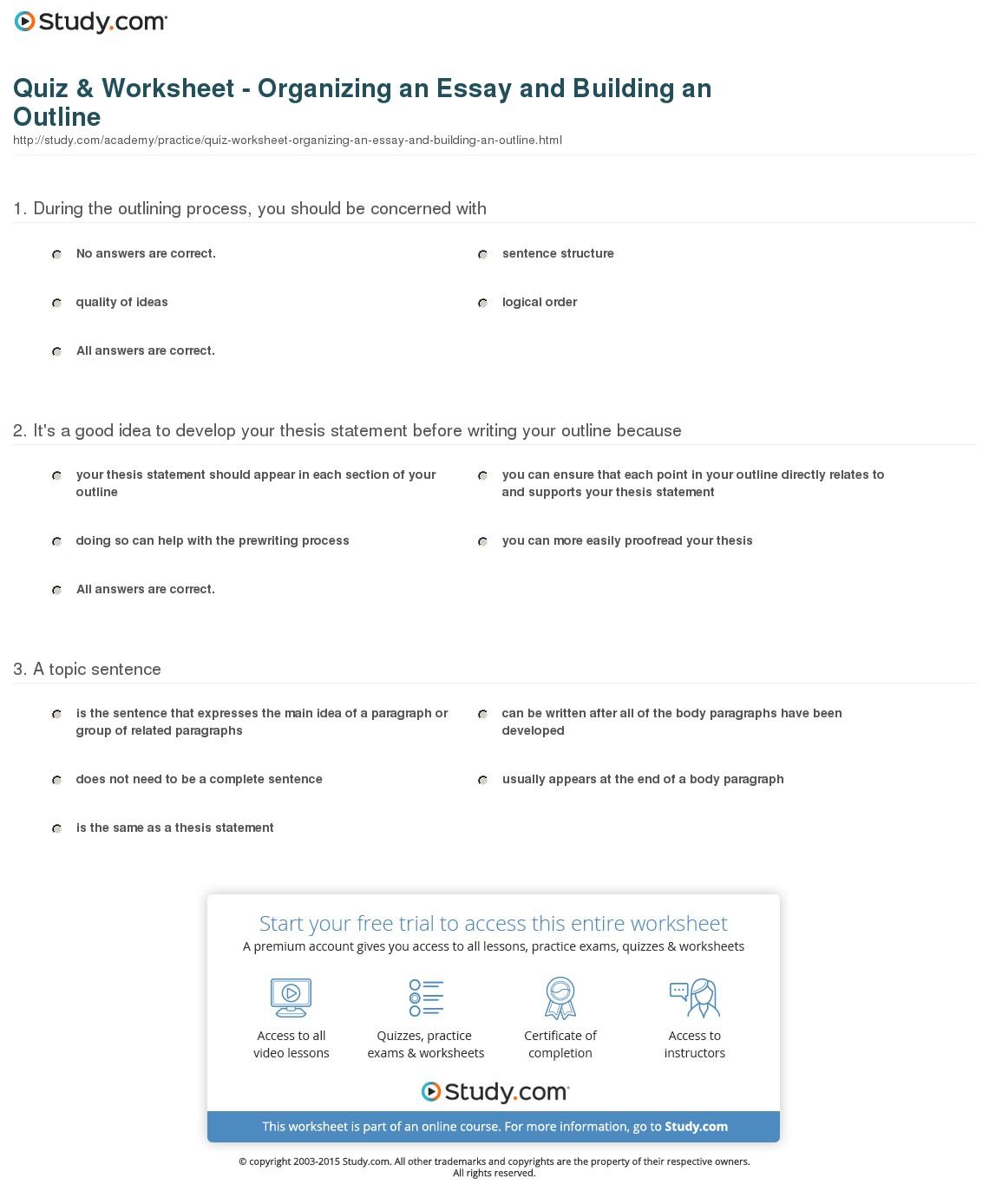 017 Essay Example Outline Of Quiz Worksheet Organizing An And Impressive Argumentative Sample Mla Format Full