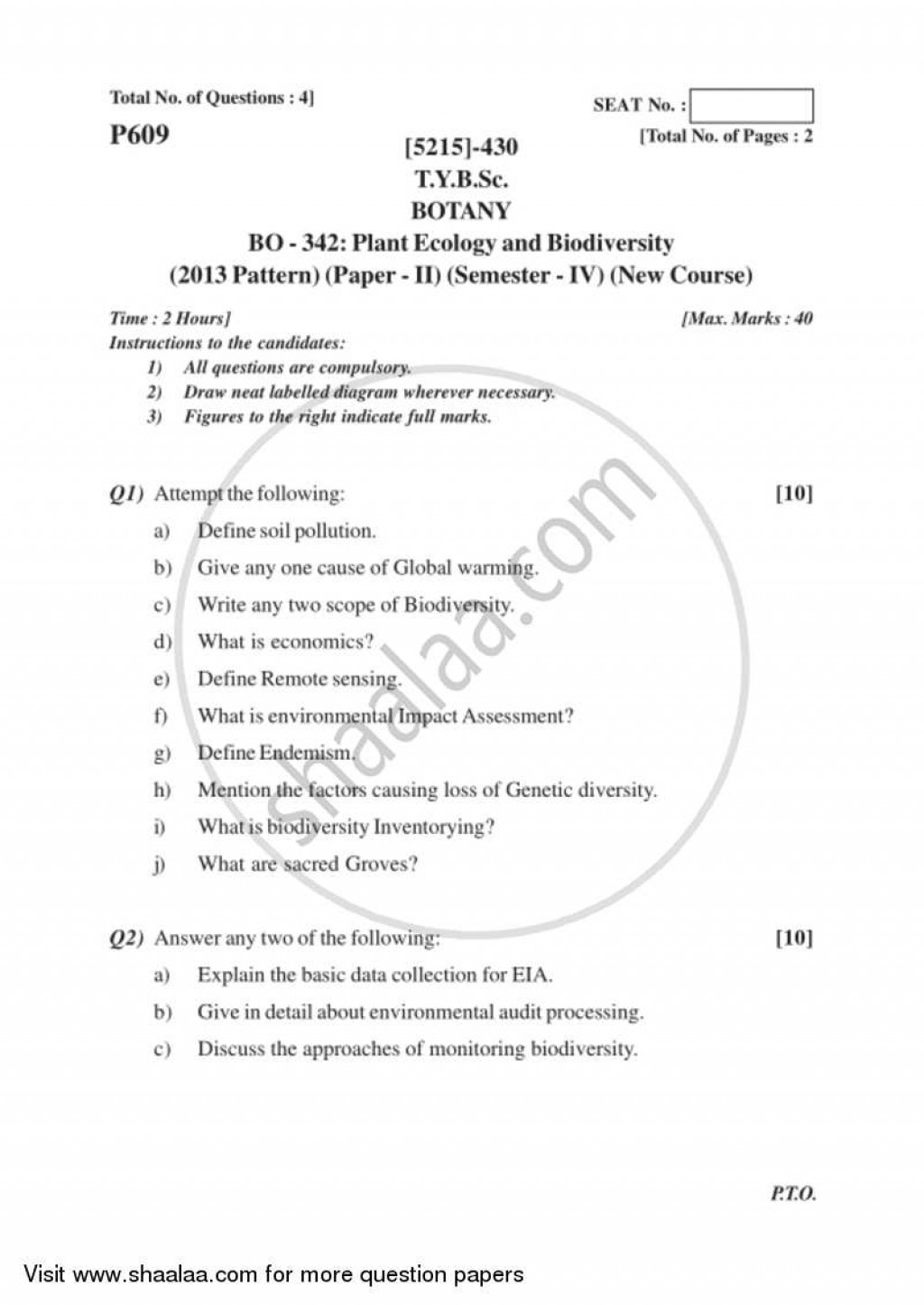 017 Essay Example University Of Pune Bachelor Bsc Plant Ecology Biodiversity Semester Tybsc Pattern 2ccae482ce96d4f1d9d32461736d16bdc Phenomenal Topics Questions Large