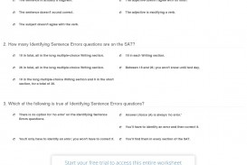 017 Essay Parts Quiz Worksheet Identifying Sentence Errors On The