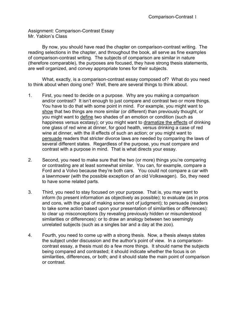 017 Example Of Compare And Contrast Essay 008028447 1 Stunning Point By Examples Fourth Grade Full