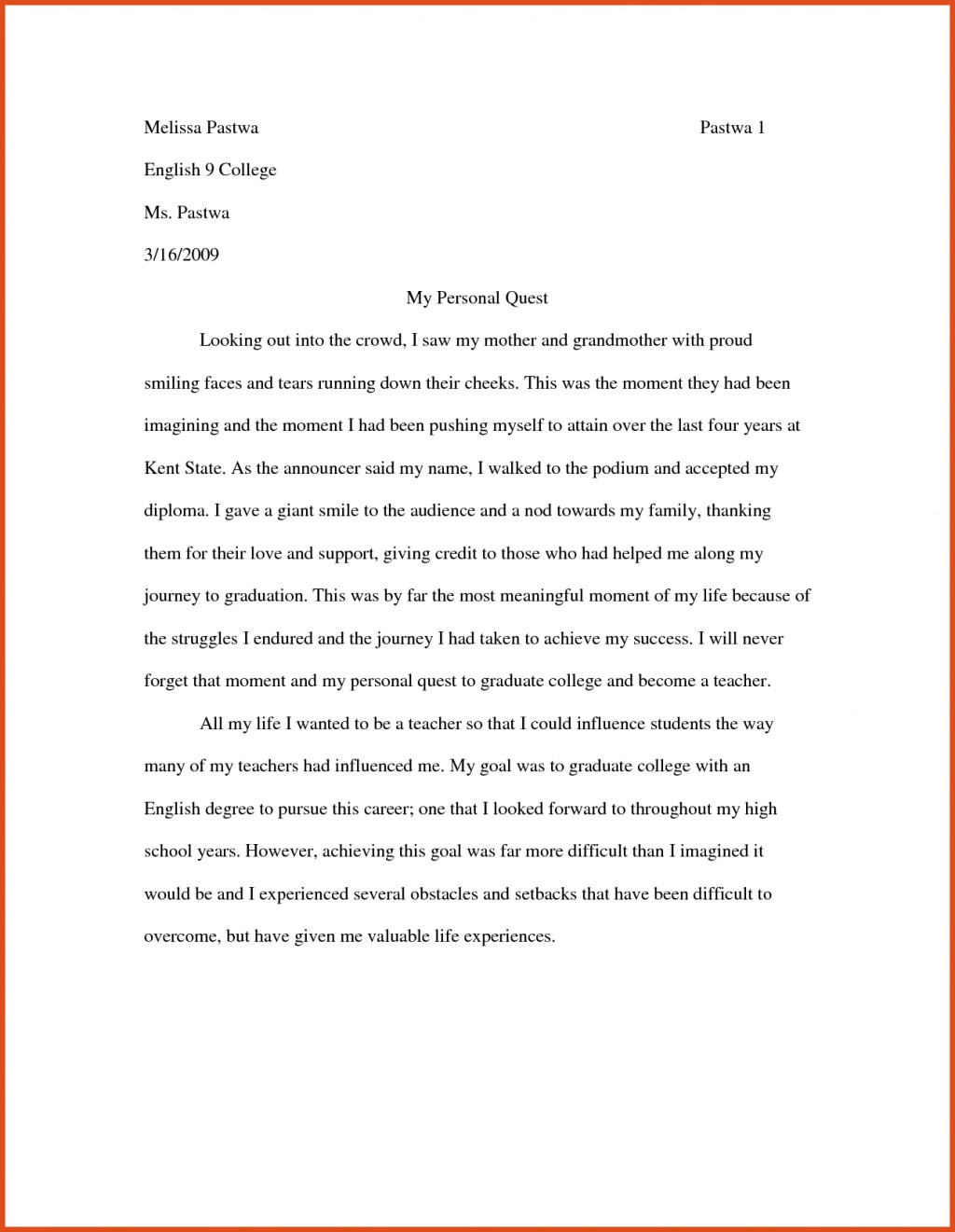 017 Examples Of Narrative Essay Example By Students Storytelling For Middle School High Introduction College With Citations About Fascinating A In Third Person Apa Format 8th Grade Personal Essays Large