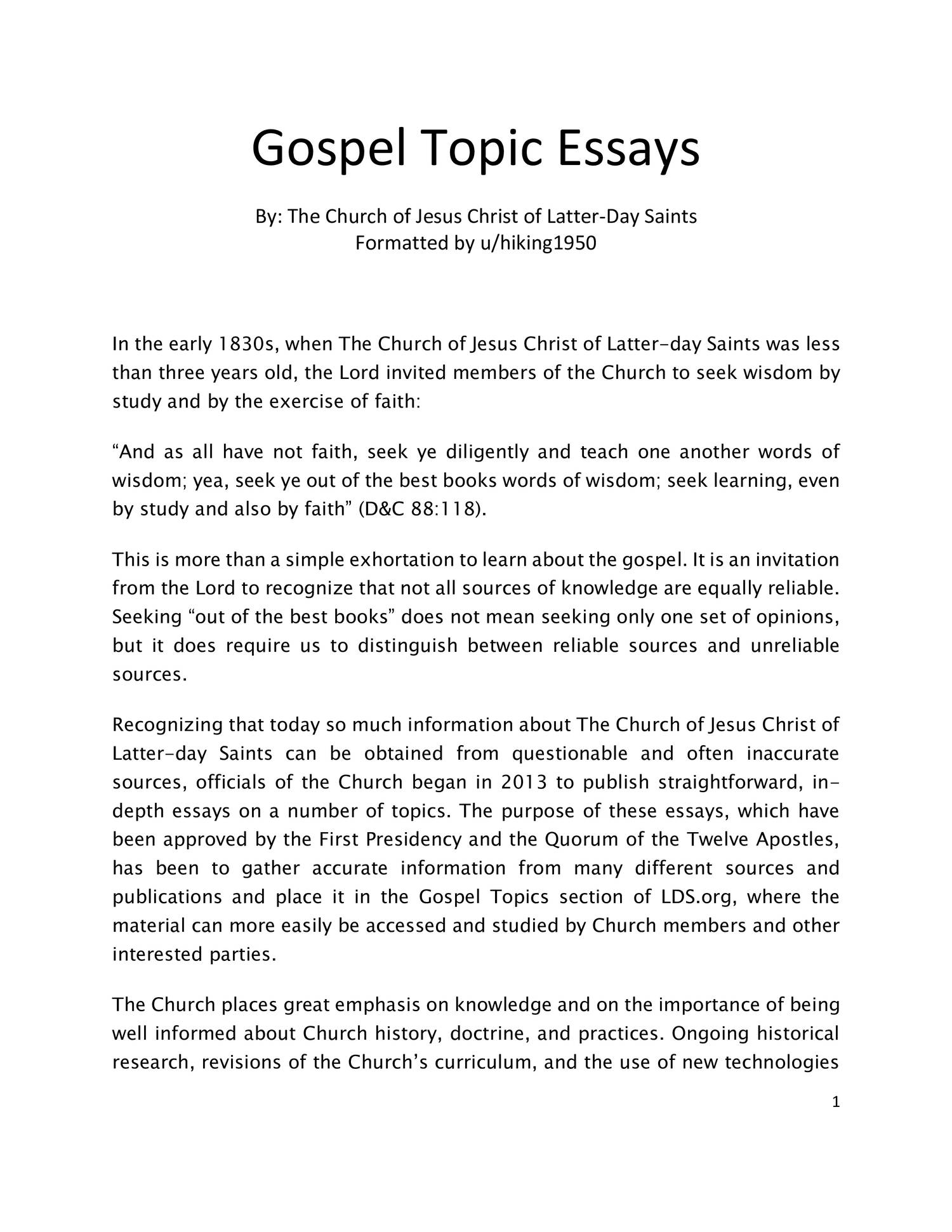 017 Gospel Topic Essays Topics Essay Outstanding Pdf Plural Marriage Becoming Like God Full