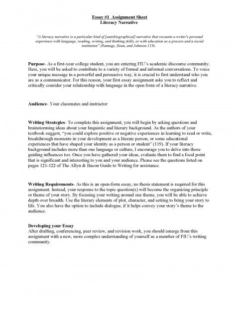 017 Literacy Narrative Unit Assignment Spring 2012 Page 1s Of Essays Essay Rare Examples Writing College For Students High School 480