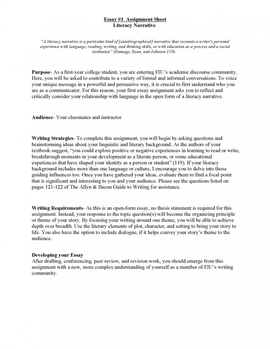 017 Literacy Narrative Unit Assignment Spring 2012 Page 1s Of Essays Essay Rare Examples Personal Middle School Example About Experience Pdf Yourself 868