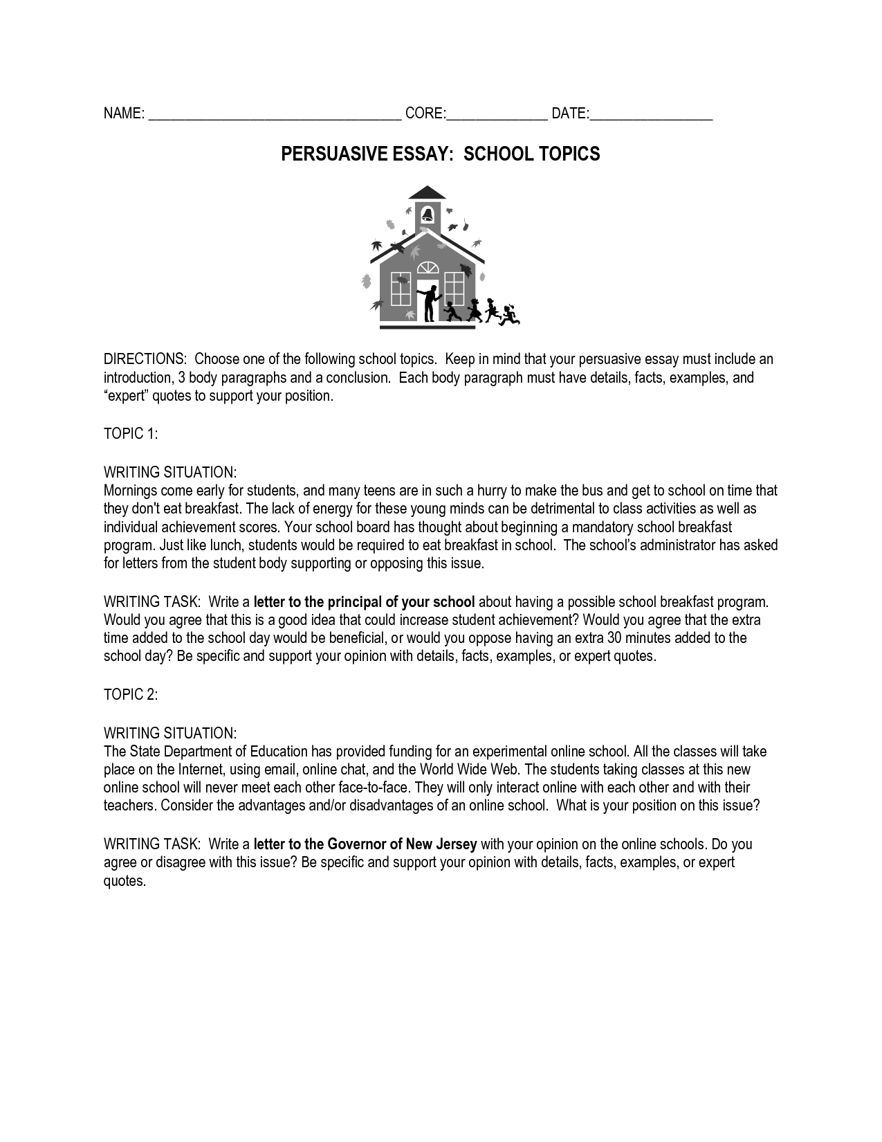 017 Middle School Essay Topics Writing Conclusion To An Argumentative On Archaicawful Prompts Funny For Full
