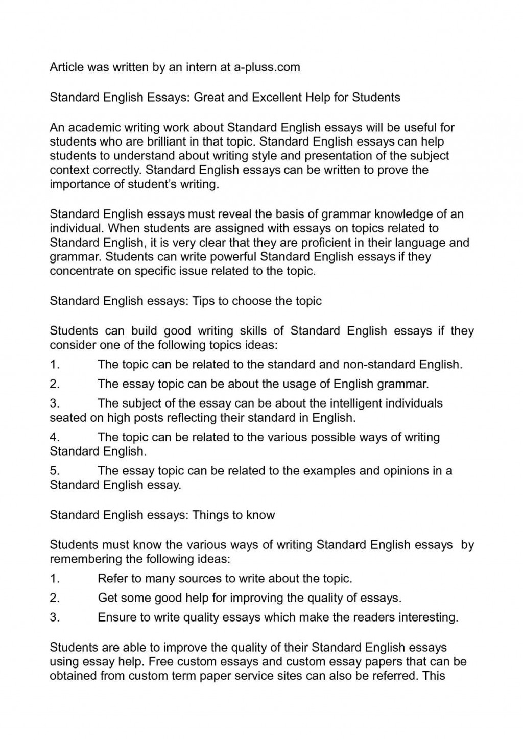 017 P1 Essay Example Free English Essays On Different Dreaded Topics In Large