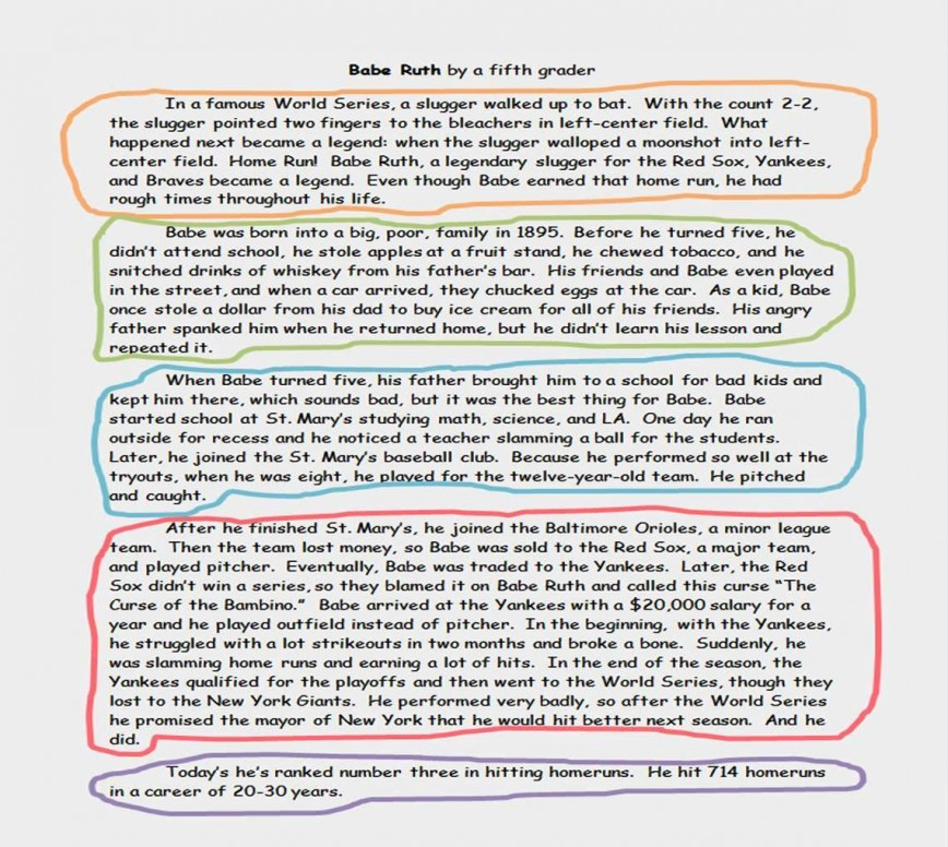 017 Paragraph Essay Sample Example Timeline Babe Ruth Stirring 5 Pdf Outline Template Printable