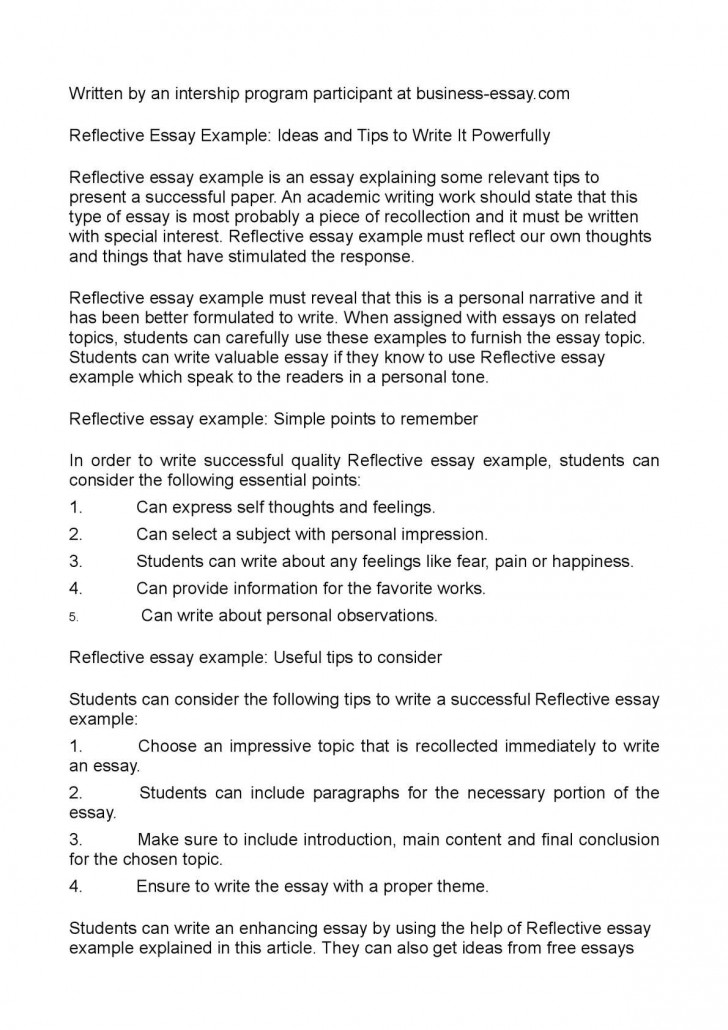 017 Reflective Essay Examples Example Beautiful Sample Pdf About Writing English 101 728