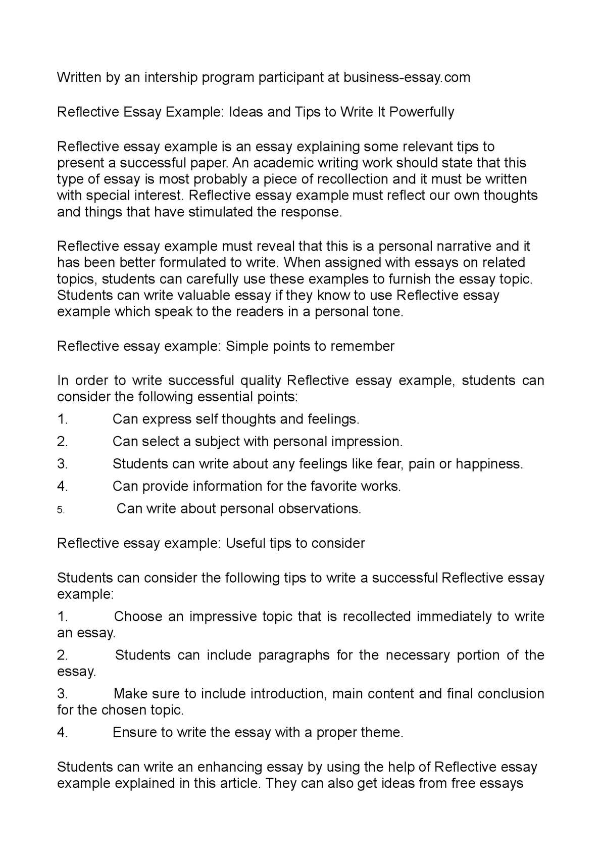 017 Reflective Essay Examples Example Beautiful For Middle School Apa High Full
