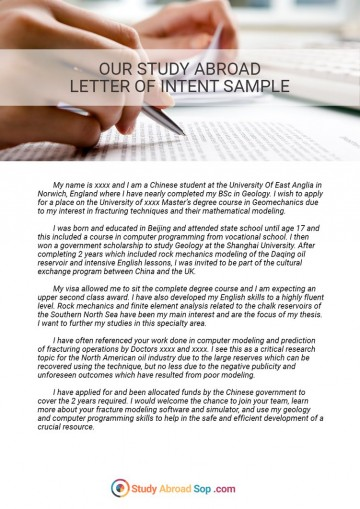 017 Study Abroad Letter Of Intent By Documentstudyabroad Datm24e Essay Top Example Scholarship Samples Why I Want To Examples Sample 360