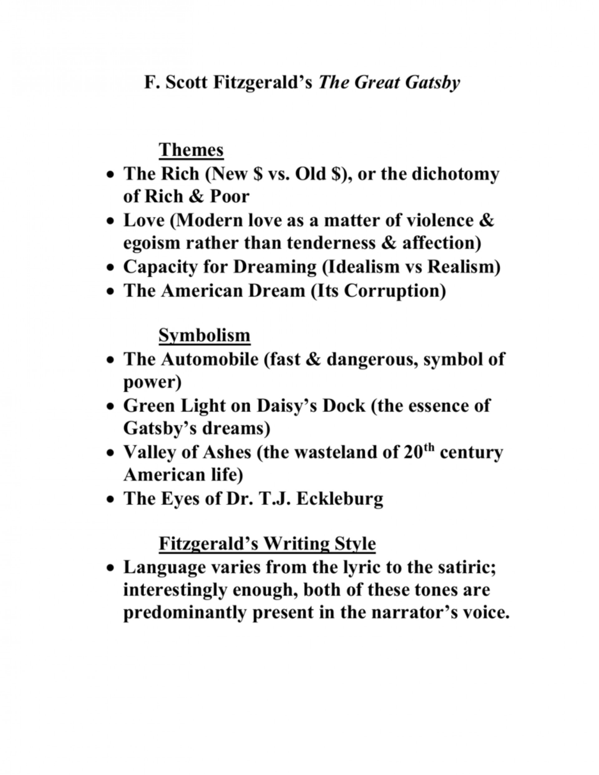 017 The Great Gatsby Themes Essay 008039513 1 Stirring Money Theme American Dream 1920