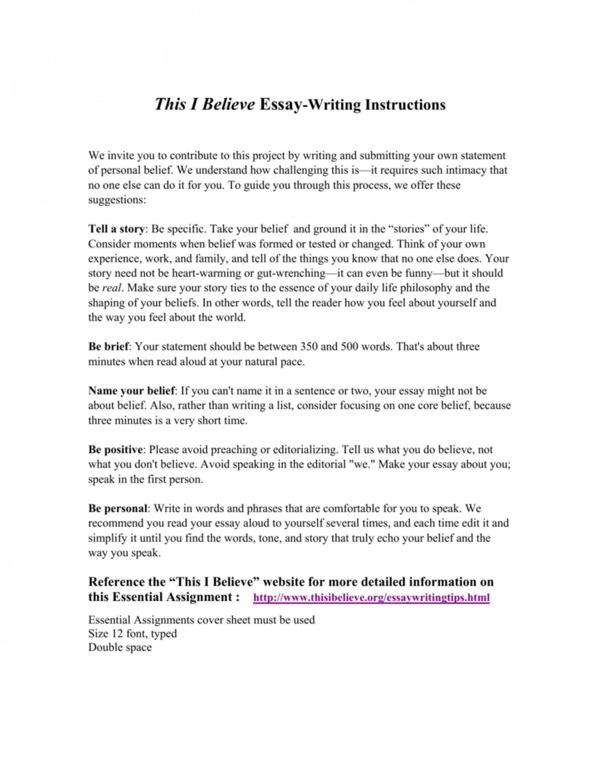 017 This I Believe Essays 008807219 1 Stupendous Essay Examples Personal College 1920