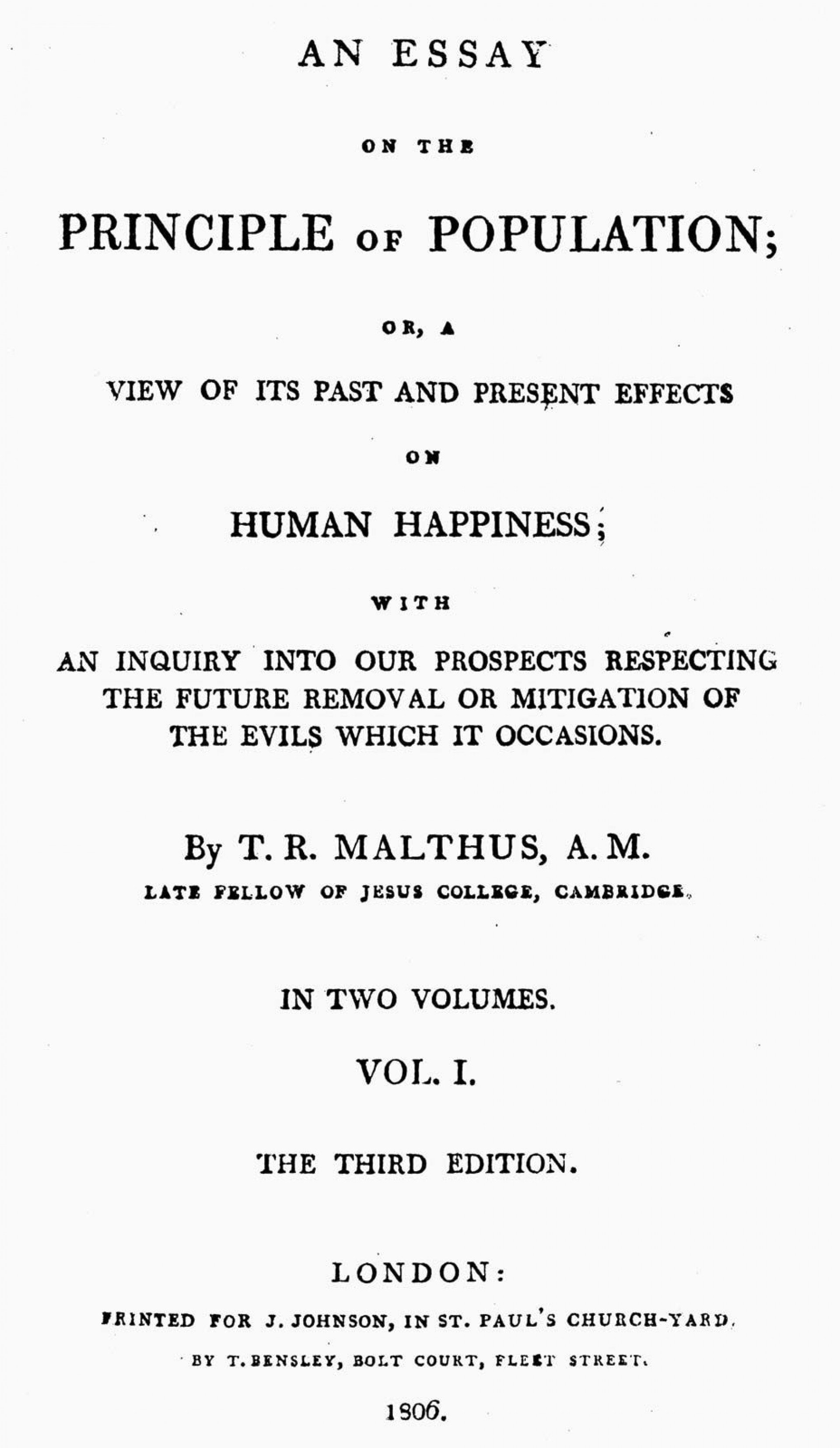 017 Thomas Malthus An Essay On The Principle Of Population Marvelous Summary Analysis Argued In His (1798) That 1920