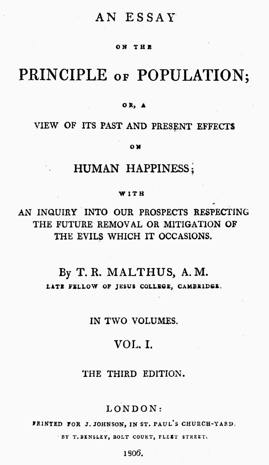 017 Thomas Malthus An Essay On The Principle Of Population Marvelous Summary Analysis Argued In His (1798) That Full