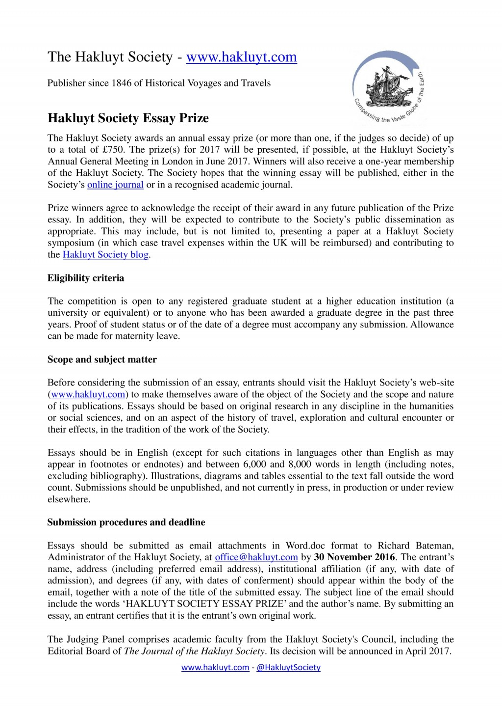 017 Travel Essay Hakluyt Society Prize The Example Text Journal Sample Tagalog Photo Examples Experience Pdf Writing Unique Definition Submissions Large