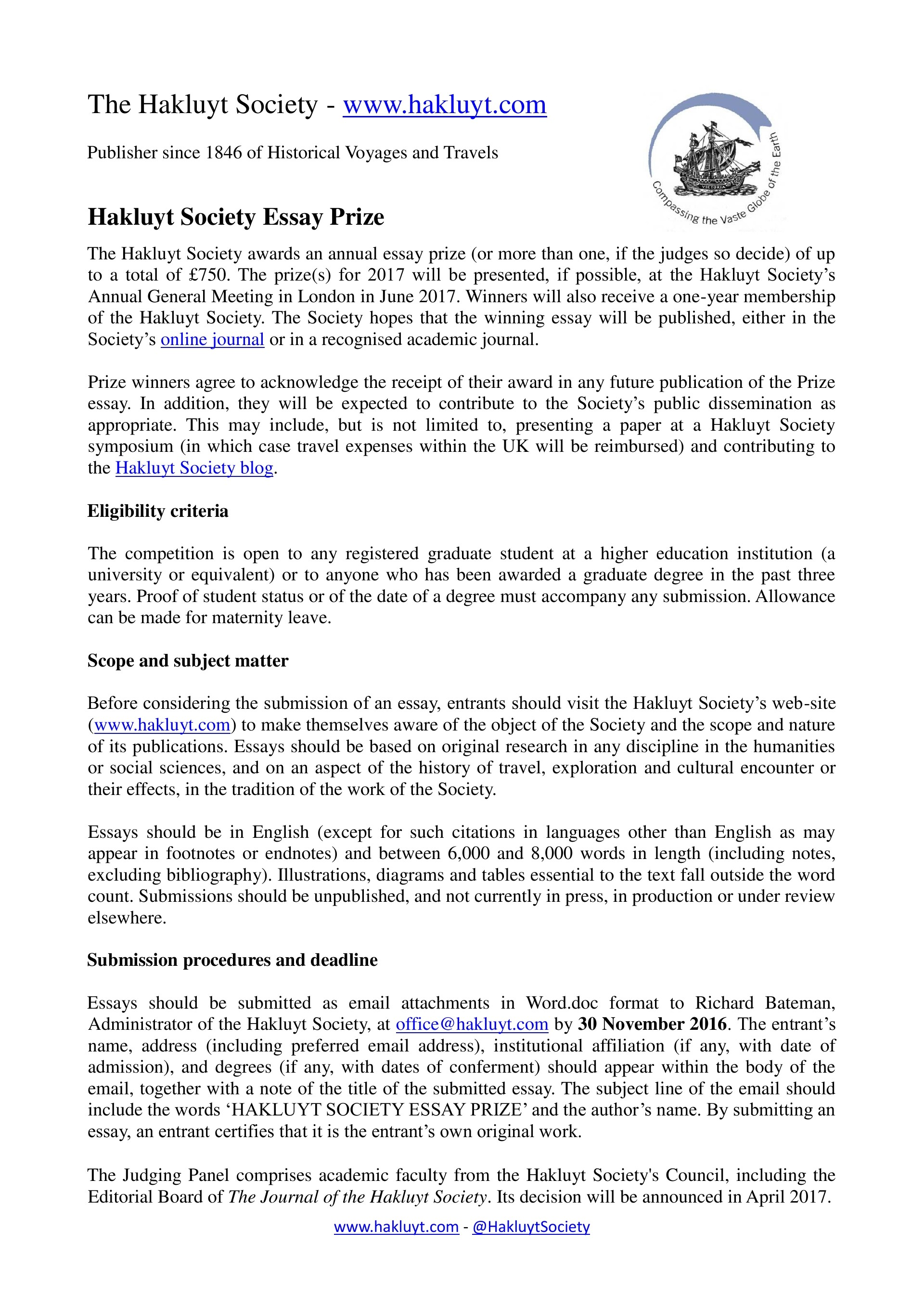 017 Travel Essay Hakluyt Society Prize The Example Text Journal Sample Tagalog Photo Examples Experience Pdf Writing Unique Definition Submissions 1920