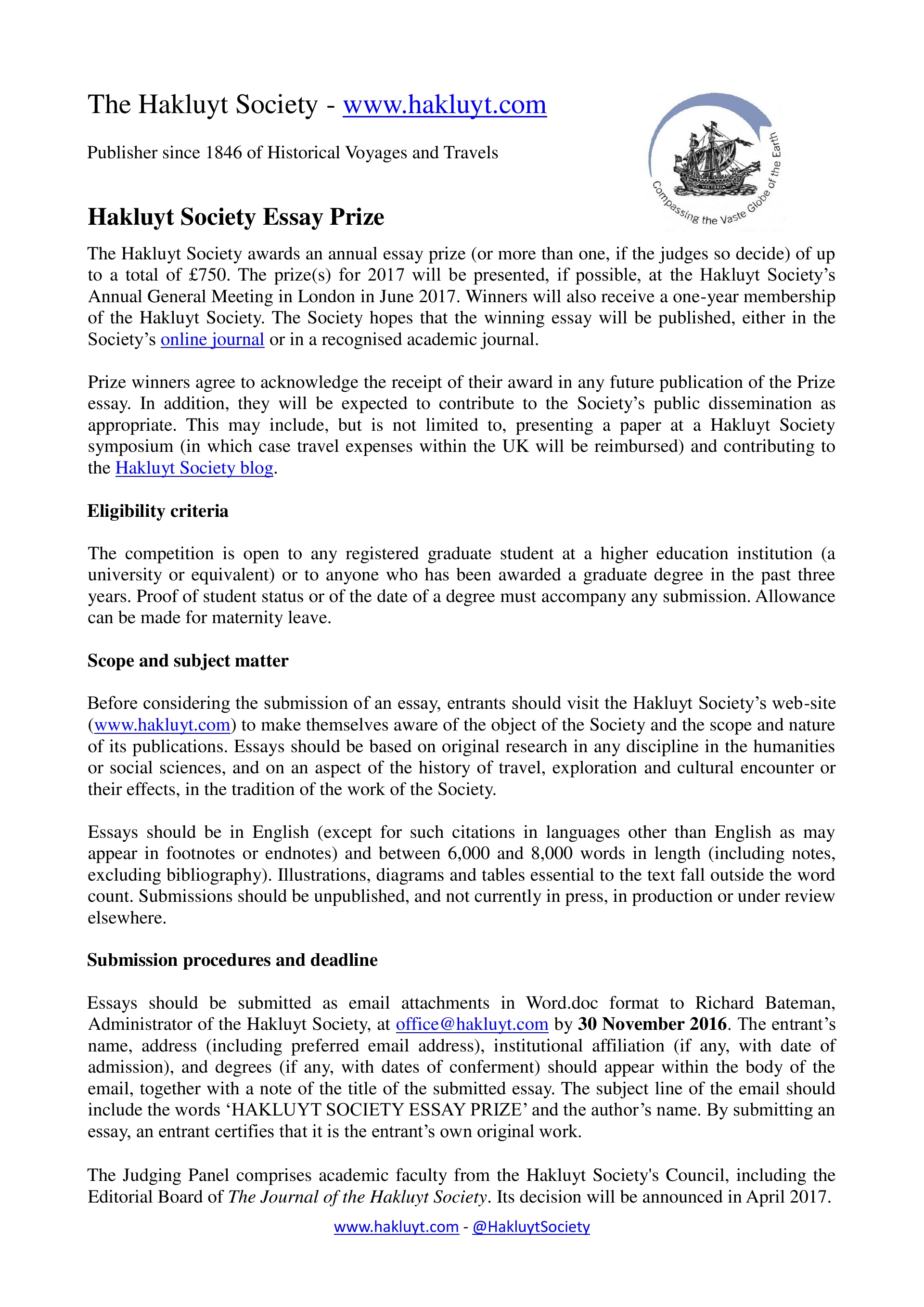 017 Travel Essay Hakluyt Society Prize The Example Text Journal Sample Tagalog Photo Examples Experience Pdf Writing Unique Definition Submissions