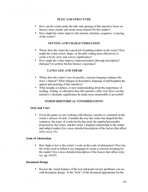 017 Unit 1 Literacy Narrative Instructor Copy Page 19 Example Of Imposing A Essay Introduction Format About Love 480