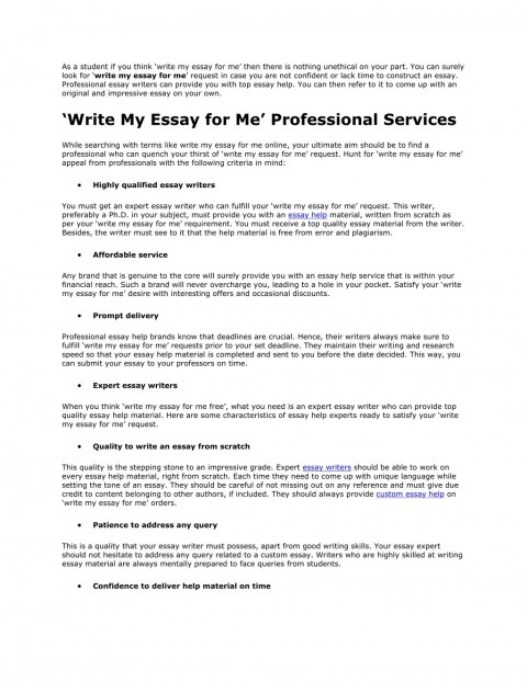 017 Write My Essay For Me Example As Student If You Think Surprising Free College Online 480
