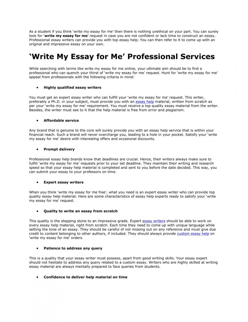 017 Write My Essay For Me Example As Student If You Think Surprising Free College Online 868
