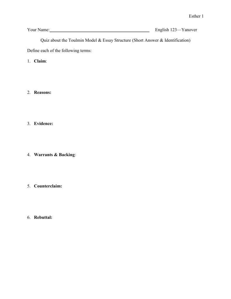 018 009570885 1 Toulmin Essay Striking Method Outline Full