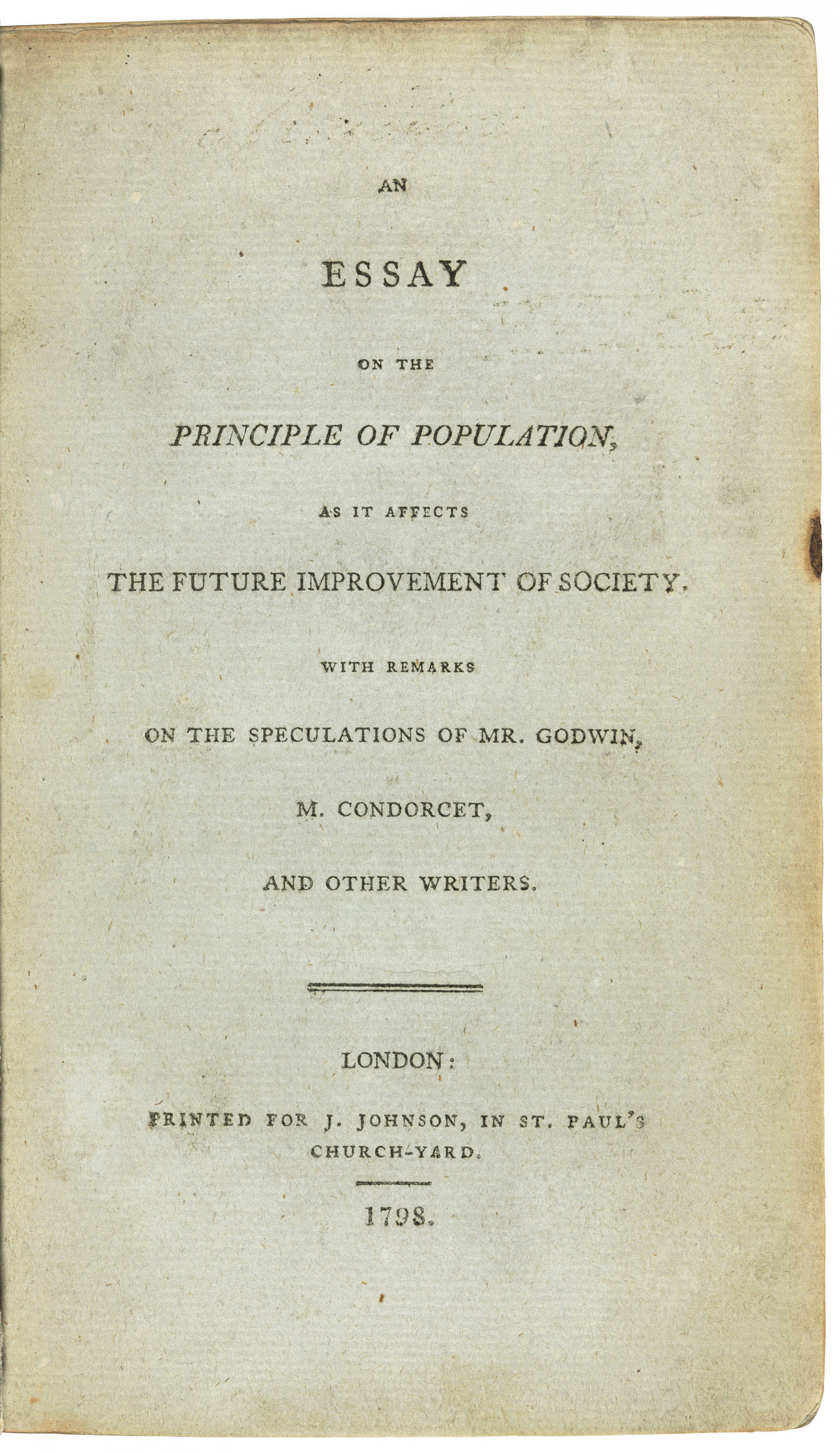 018 2018 Cks 16018 0261 000malthus Thomas Robert An Essay On The Principle Of As It Af Example Fascinating Population By Malthus Pdf In Concluded Which Following 1920