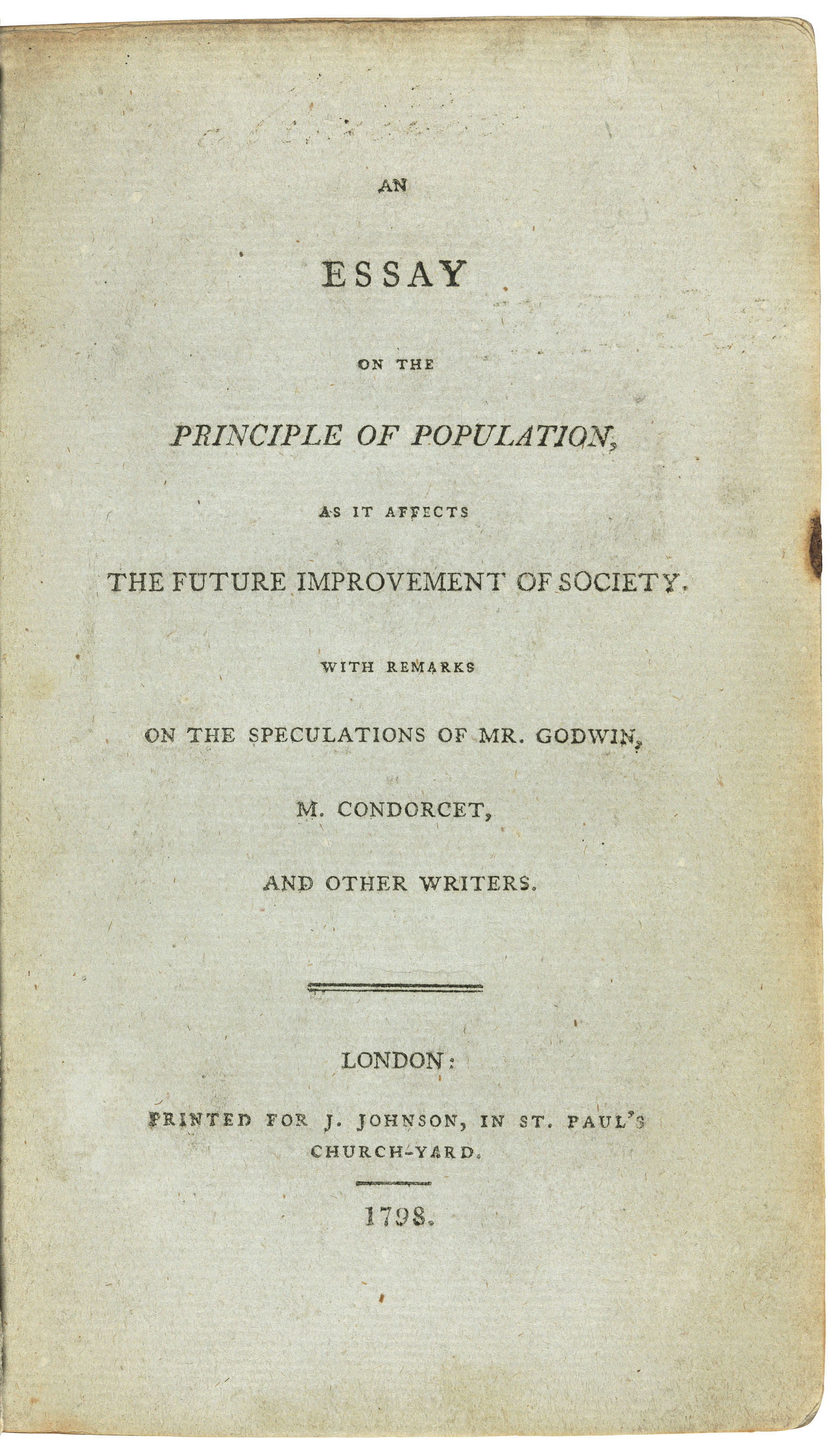 018 2018 Cks 16018 0261 000malthus Thomas Robert An Essay On The Principle Of As It Af Example Fascinating Population By Malthus Pdf In Concluded Which Following Full