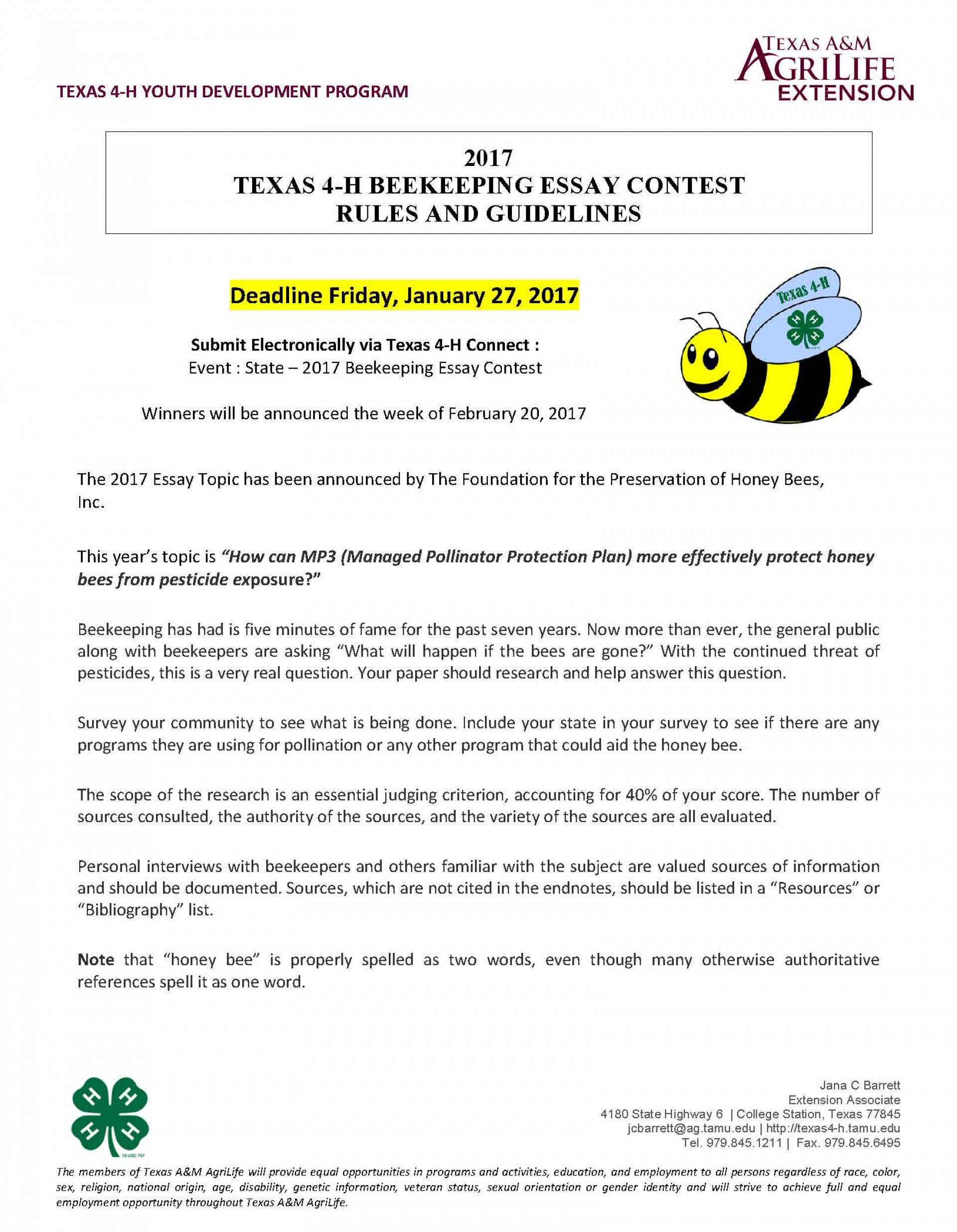 018 Beekeeping Contest Rules And Guidelines Page 1 Essay Example National Marvelous Peace 2019 1920